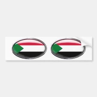Sudan Flag Glass Oval Bumper Sticker