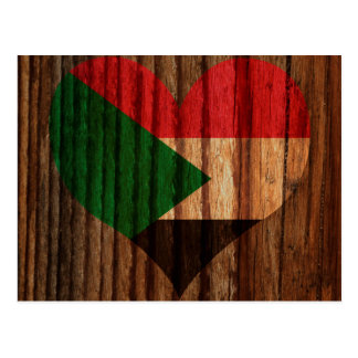 Sudan Flag Heart on Wood theme Postcard