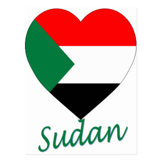 Sudan Flag Heart Postcard