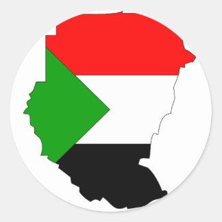 Sudan flag map classic round sticker