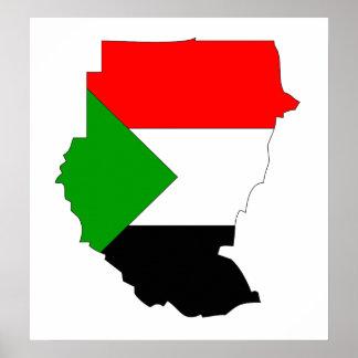 Sudan Flag Map full size Poster