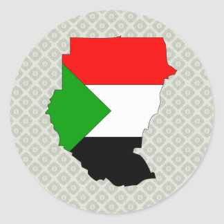 Sudan Flag Map full size Classic Round Sticker