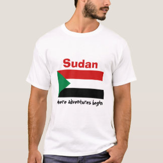 Sudan Flag + Map + Text T-Shirt