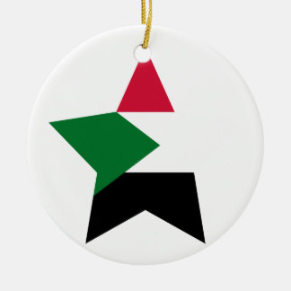 Sudan Star Double-Sided Ceramic Round Christmas Ornament