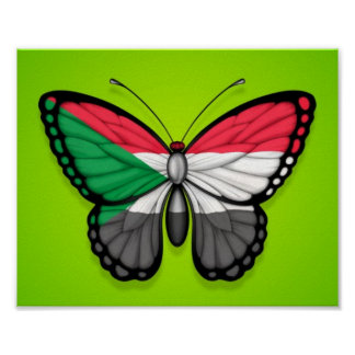 Sudanese Butterfly Flag on Green Poster