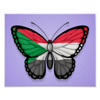 Sudanese Butterfly Flag on Purple Poster