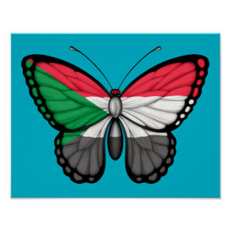 Sudanese Butterfly Flag Poster