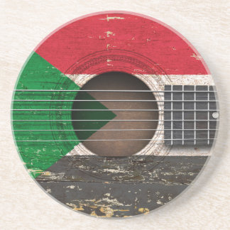 Sudanese Flag on Old Acoustic Guitar Drink Coaster
