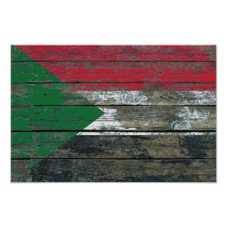 Sudanese Flag on Rough Wood Boards Effect Poster
