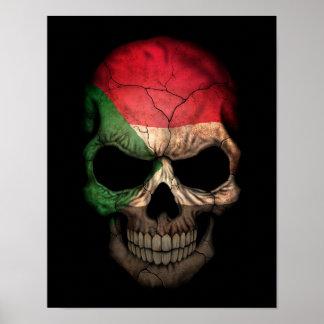 Sudanese Flag Skull on Black Poster