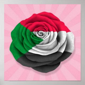 Sudanese Rose Flag on Pink Poster