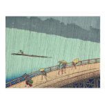 Sudden Shower by Ando Hiroshige Postcard