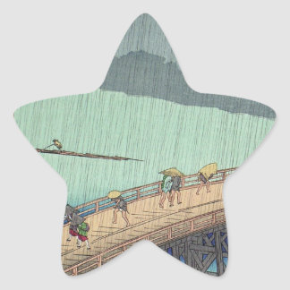 Sudden Shower by Ando Hiroshige Star Sticker