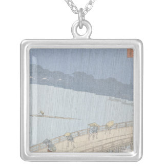Sudden Shower on Ohashi Bridge at Ataka Silver Plated Necklace
