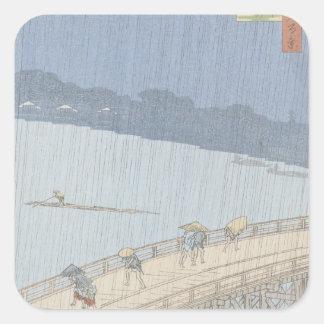 Sudden Shower on Ohashi Bridge at Ataka Square Sticker