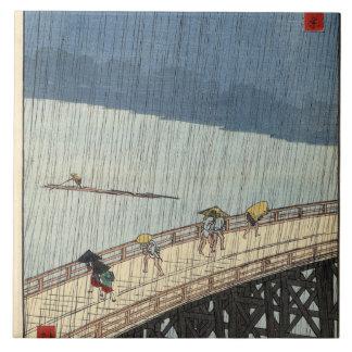 Sudden shower over Shin-Ōhashi bridge and Atake Ceramic Tile