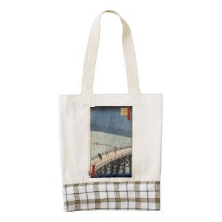 Sudden shower over Shin-Ōhashi bridge and Atake Zazzle HEART Tote Bag