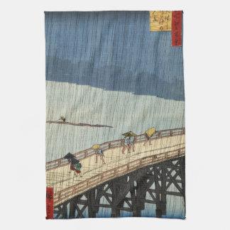 Sudden Shower over Shin-Ōhashi bridge and Atake (大 Kitchen Towel