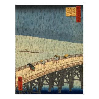 Sudden shower over Shin-Ōhashi bridge Hiroshige Post Card