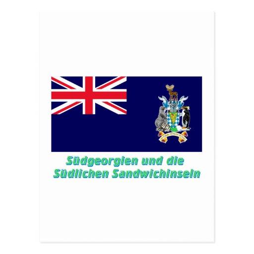 Südgeorgien u Süd-Sandwichinseln Flagge mit Namen Post Card