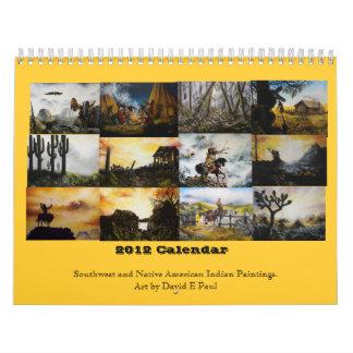 Sudoeste 2012 y arte del indio del nativo calendario de pared
