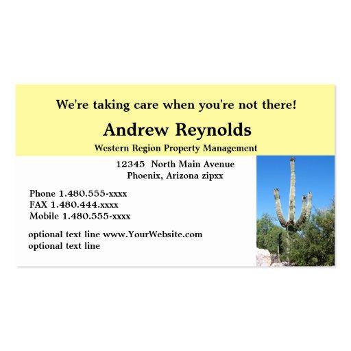 Sudoeste del desierto del administrador de la tarjetas de visita