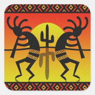 Sudoeste Kokopelli del cactus de Sun del desierto Pegatina Cuadrada