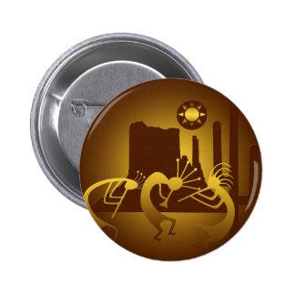 Sudoeste Kokopelli en bronce y oro Pin Redondo De 2 Pulgadas