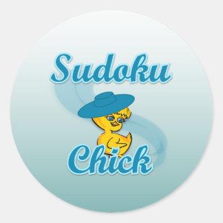 Sudoku Chick #3 Classic Round Sticker