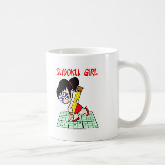 Sudoku Girl Black Hair Coffee Mug