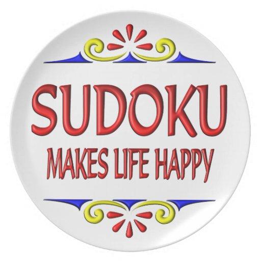 Sudoku hace vida feliz plato de comida