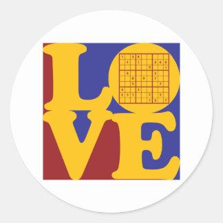 Sudoku Love Classic Round Sticker