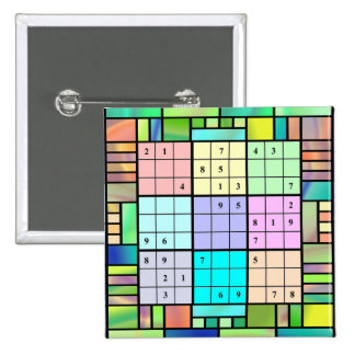 Sudoku Stained Glass Design Buttons