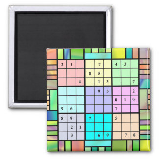 Sudoku Stained Glass Design 2 Inch Square Magnet