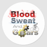 sudor y engranajes de la sangre pegatinas redondas