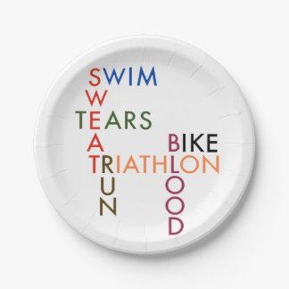 Sudor y rasgones de la sangre del Triathlon Plato De Papel De 7 Pulgadas