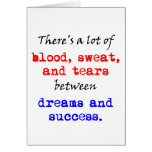 Sudor y rasgones de la sangre felicitación