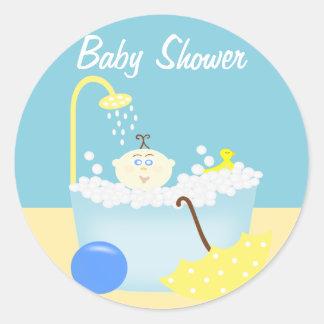 Sudsy Bathtub Blue Baby Shower Sticker