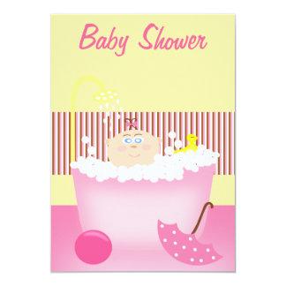 Sudsy Bathtub Pink Baby Shower Invitation