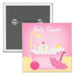 Sudsy Bathtub Pink Baby Shower Pin
