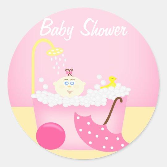 Sudsy Bathtub Pink Baby Shower Sticker
