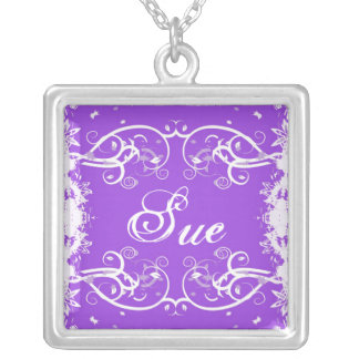 """Sue"" on purple flourish swirls necklace"