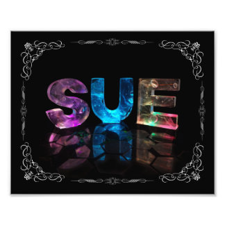 Sue  - The Name Sue in 3D Lights (Photograph) Photo Print