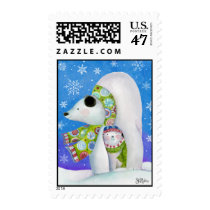 Sue Zipkin Winter Holiday Polar Bear Postage