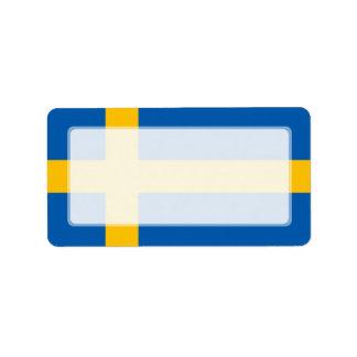 Suecia - bandera sueca etiquetas de dirección