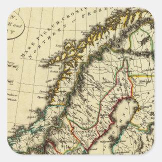 Suecia, Dinamarca, Noruega con los límites Pegatinas Cuadradas