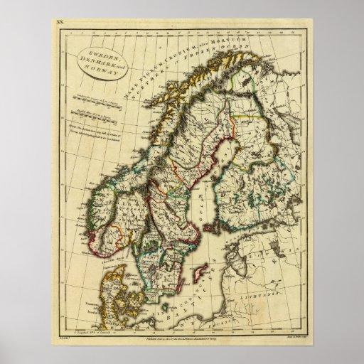 Suecia, Dinamarca, Noruega con los límites resumid Poster