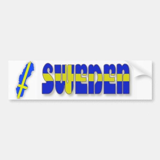 Suecia en letras de la bandera pegatina de parachoque