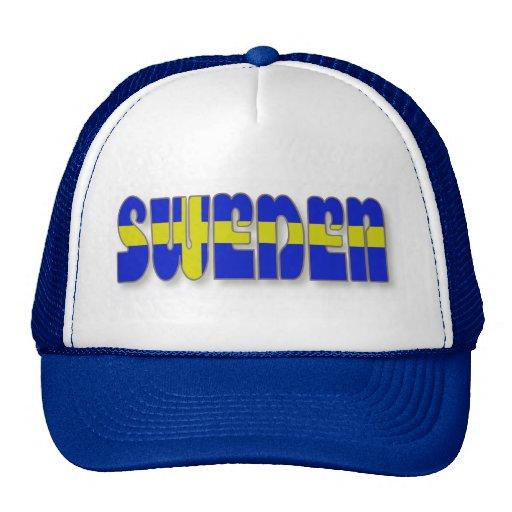 Suecia en letras de la bandera gorra