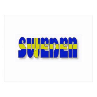 Suecia en letras de la bandera tarjetas postales